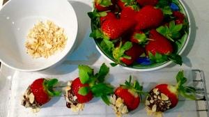 Strawberries almonds choc