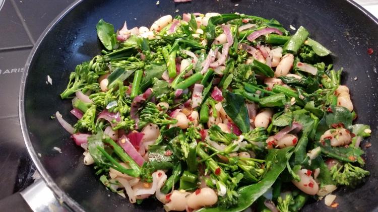 Broccolini and cannelini saute