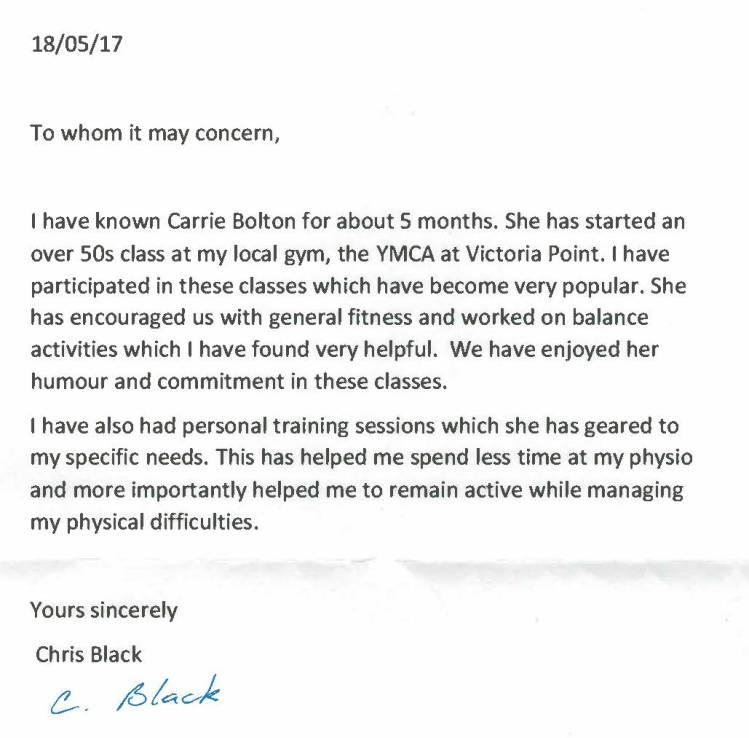 Christine Black Testimonal May 2017